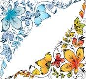 Dois cantos florais Imagens de Stock