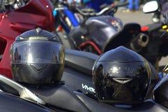 Dois capacetes da motocicleta Fotografia de Stock Royalty Free