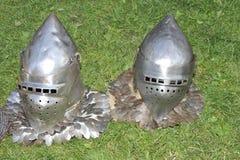Dois capacetes dos cavaleiros Imagem de Stock Royalty Free