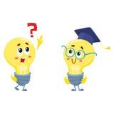 Dois caráteres da ampola, uma pergunta pedindo, uns outros vidros vestindo ilustração stock