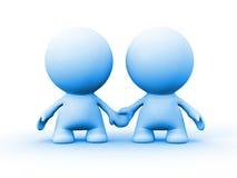 Dois caráteres humanos no azul que guarda as mãos Fotografia de Stock