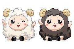 Dois carneiros bonitos dos desenhos animados Imagens de Stock