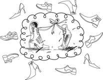 Dois carregadores e coleções das sapatas Ilustração Royalty Free