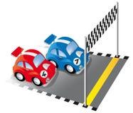 Dois carros de corridas engraçados na trilha de raça Fotografia de Stock Royalty Free