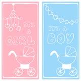 Dois cartões da festa do bebê Fotos de Stock