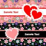 Dois cartões do dia do ` s do Valentim Imagens de Stock