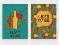 Dois cartões para a cidra temperam com ramo bonito da árvore de maçã e garrafa da cidra ilustração stock