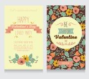 Dois cartões para o valentine& x27; partido do dia de s ilustração do vetor