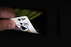 Dois cartões rei e ás de espada Foto de Stock Royalty Free