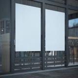 Dois cartazes vazios na janela do café Foto de Stock Royalty Free