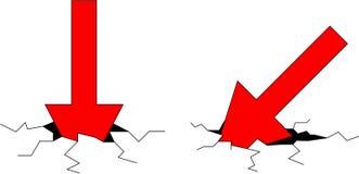 Dois causaram um crash setas Imagens de Stock Royalty Free