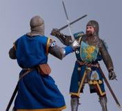 Dois cavaleiros medievais que lutam-se na armadura Imagem de Stock