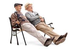 Dois cavalheiros superiores que sentam-se em um banco fotos de stock
