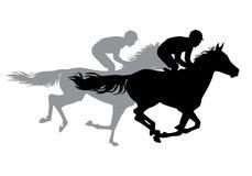 Dois cavalos de equitação dos jóqueis Foto de Stock Royalty Free
