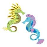 Dois cavalos de mar. ilustração do vetor