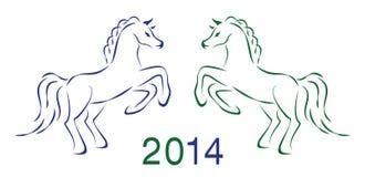 Dois cavalos 2014 do vetor Fotos de Stock