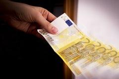 Dois cem cédulas do euro Fotografia de Stock