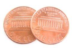 Dois centavos isolados Imagem de Stock