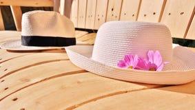 Dois chapéus em um banco Foto de Stock Royalty Free
