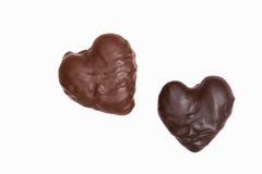 Dois chocolates dados forma coração Fotos de Stock Royalty Free