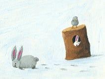 Dois coelhos e um pássaro no inverno Imagem de Stock Royalty Free