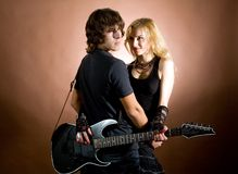 Dois com guitarra Fotos de Stock Royalty Free