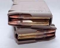 Dois 223 compartimentos do rifle carregados com as balas Imagens de Stock Royalty Free