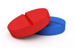 Dois comprimidos médicos - ilustração das tabuletas 3d Imagem de Stock Royalty Free