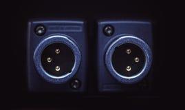 Dois conectores do microfone de XLR fotografia de stock royalty free