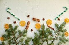 Dois cones verdes dos doces e especiarias tradicionais do feriado: o anis stars, as varas de canela, laranjas secadas no fundo co Fotografia de Stock