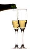 Dois copos com champanhe Fotografia de Stock Royalty Free