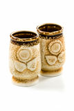 Dois copos da argila Foto de Stock