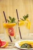 Dois copos de água de vidro com laranja, o limão, a hortelã e gelo vermelhos Franco Fotos de Stock
