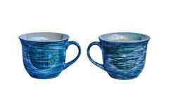Dois copos de café azuis Fotos de Stock Royalty Free
