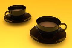 Dois copos de café do leite, no fundo amarelo fotos de stock royalty free