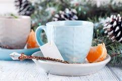 Dois copos de chá com a árvore do saquinho de chá e do xmas Imagens de Stock Royalty Free