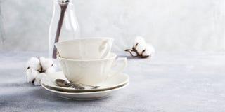Dois copos de chá retros da porcelana imagens de stock royalty free