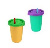 Dois copos de papel do fast food com palhas Imagem de Stock