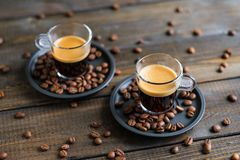 Dois copos do café Foto de Stock Royalty Free