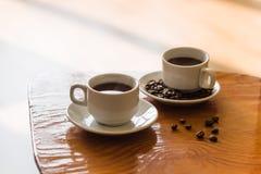 Dois copos do café preto Foto de Stock Royalty Free