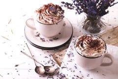 Dois copos do chocolate quente com creme chicoteado Fotos de Stock Royalty Free