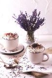 Dois copos do chocolate quente com creme chicoteado Fotografia de Stock