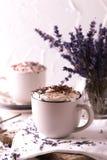 Dois copos do chocolate quente com creme chicoteado Imagem de Stock
