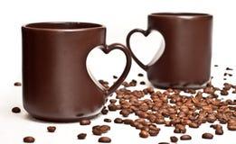 Dois copos e coffe Fotografia de Stock