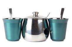 Dois copos e sugarbowl Foto de Stock
