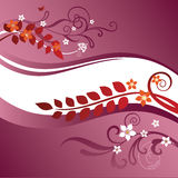 Dois cor-de-rosa e beiras florais vermelhas Imagens de Stock Royalty Free