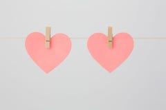 Dois Coração-deram forma a notas vazias Fotos de Stock Royalty Free