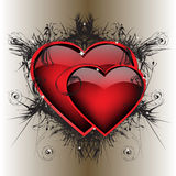 Dois corações ardentes Imagens de Stock