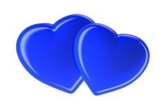 Dois corações azuis isolados no branco Imagem de Stock