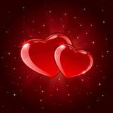 Dois corações brilhantes Imagem de Stock